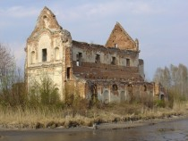 The ruins of Our Lady of Loreto church in Chodel Poland Built -