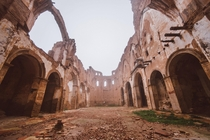 The ruins of the cathedral of Belchite was destroyed during the Spanish Civil War