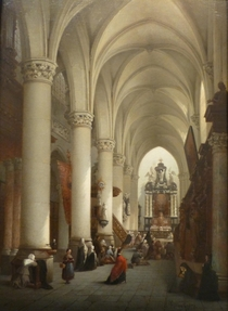 THE SAINT PETER AND PAULS CHURCH IN ANTWERP Oil on panel  x  cm   x  ins Signed and dated  lower right Painter of church interiors Neyt exhibited at several Belgian Salons from  till  He visited Holland Spain and Germany Period Brussels  -  Belgian School