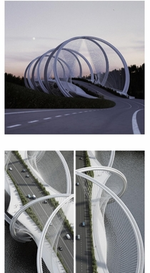 The San Shan Bridge by Penda DNA-Shaped Suspension part of the infrastructure program for the Olympic Winter Games