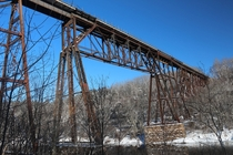 The Sandstone Minnesota railroad bridge over the Kettle river Built in