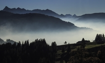 The sea of fog near Mt Gantrisch Switzerland