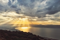 The Sea of Galilee from Golan Heights Israel  OC