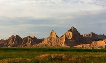 The setting Sun striking the Badlands Wall