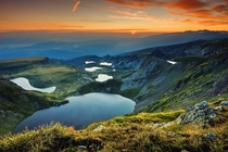 The seven Rila lakes - the tearkidneyeyetwintrefoilfish lake and the lower lake Bulgaria