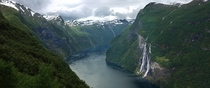 The Seven Sisters waterfall Geiranger Fjord Norway