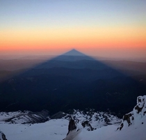 The shadow of Mt Hood near Portland Oregon Taken by my amazing girlfriend at the mountain summit