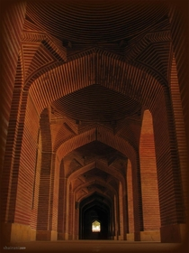 The Shahjahan Mosque in Thatta Pakistan is a th century mosque unusual in its design as it has no minarets and  domes