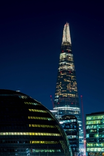 The Shard and Londons City Hall in the evening