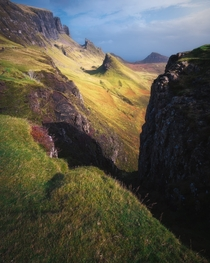 The shark fin formations that jut out of the land all part of the weird and wonderful landscape of the Quiraing on the Isle of Skye Skye Scotland UK