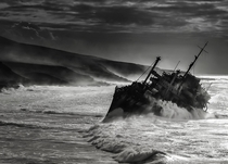 The shipwrecked SS American Star off the coast of Fuerteventura in the Canary Islands  by Pedro Lpez Batista