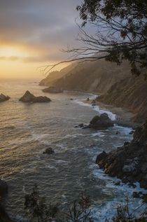The shoreline cliffs of Big Sur CA
