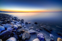 The shores of The Great Salt Lake UT during a winters sunset x