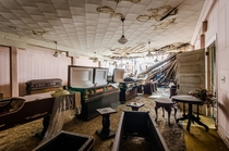 The showroom of an abandoned funeral parlor