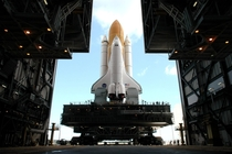The Shuttle Discovery begins the long roll towards NASAs Kennedy Space Center  Credit NASAKSC