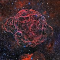 The Siemis  Supernova Remnant or also know as the Spaghetti Nebula Located on the boundary of the constellations Taurus and Auriga Photo credit Daniel Lpez source in the comments