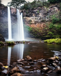 The silky water of Wailua Falls Kauai