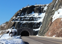 The Silver Creek Cliff tunnel on Highway  along the north shore of Lake Superior in Minnesota