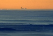 The skyline of Charlotte NC as seen from the top of Grandfather Mountain approx  miles away  x-post from rpics