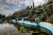 The slides of an abandoned water park