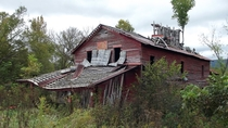 The slow collapse of the Coghill Grist Mill in McMinn County Tennessee Built in  and closed in  Located in an area that was hit by the tornado outbreak of