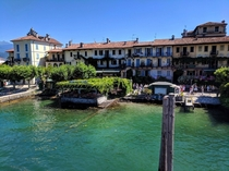 The small but densely built Isola Bella an island community in Lago Maggiore Italy and home to the Palazzo Borromeo