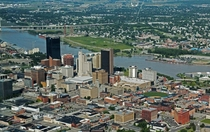 The smaller sized Glass City Toledo Ohio at the mouth of the Maumee River