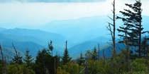 The Smokies from Mount Mitchell the highest point in the Appalachians