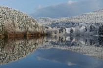 The snow-covered landscape is reflected in the lake near the northern German town of Sonnenberg