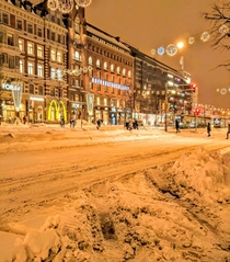 The Snowy City Centre in Helsinki Finland