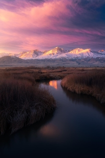 The snowy Sierras a serene stream and a sublime sunrise Owens Valley CA