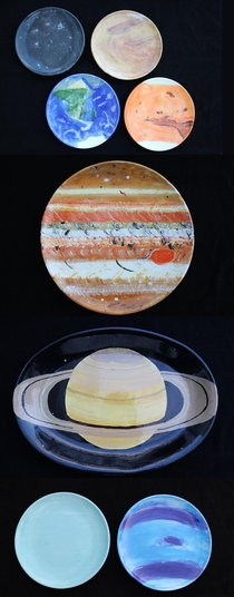 The Solar System Dinner is always better on a different planet painted by me a couple years ago Havent gotten around to Pluto yet but I will
