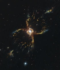 The Southern Crab Nebula located  light-years from Earth taken by Hubble Space Telescope