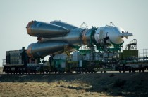 The Soyuz TMA-M spacecraft is rolled out by train to the Baikonur Cosmodrome launch pad Sunday May   in Kazakhstan