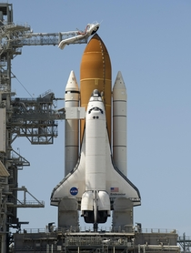 The space shuttle Endeavour is seen at launch pad A at NASAs Kennedy Space Center in Cape Canaveral Florida -- July