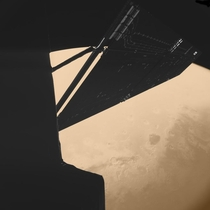 The spacecraft Rosetta made this incredible picture during a Mars flyby