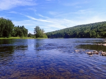 The sparkling clear waters of the Upper Delaware River - Lackawaxen Pa