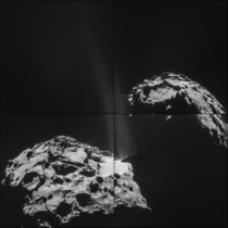 The spectacular region of activity at the neck of comet Churyumov-Gerasimenko taken by Rosettas navigation camera