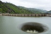 The spillway at Monticello Dam Lake Berryessa in California