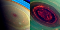 The spinning hexagonal vortex of Saturns north polar storm imaged by NASAs Cassini spacecraft