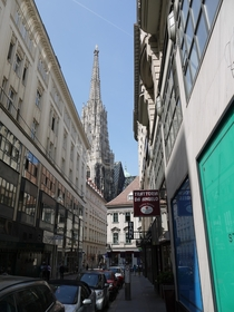 The spire of Stephansdom towering over the city Vienna