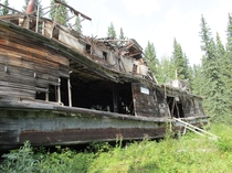 The SS EvelynNorcom Left on blocks at the confluence of the Teslin and Yukon rivers Yukon Territory Canada