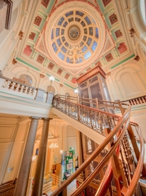 The staircase inside Halifax Town Hall England