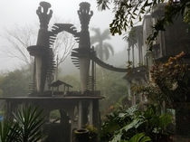 The Stairs to Heaven in a foggy day inside of the Sculptural Garden of Edward James