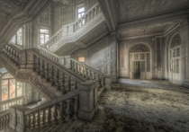 The stairwell of an abandoned asylum  Photographed by Andrea Pesce