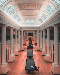 The state library of Victoria is such a beautiful old building I love the symmetry and design Architect - Joseph Reed
