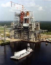 The Stennis Space Center B-B- Test Stand holding space shuttle components in