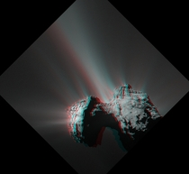The stereo anaglyph of Churyumov-Gerasimenko or Comet P Its created by combining two images from the Rosetta spacecrafts narrow angle OSIRIS camera Credit ESARosetta MPS OSIRIS-stereo Anaglyph Philippe Lamy and the Team