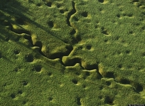 The still pockmarked landscape of Somme battlefield