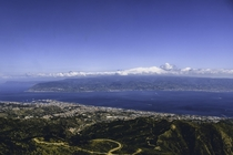 The Strait of Messina shot from the top of the Sanctuary of the Madonna di Dinnammare Messina  IG thenaphotography
